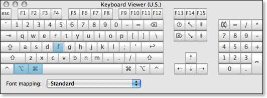 keyboard command option f