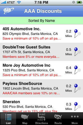 iPhone app AAA discounts sorted by name