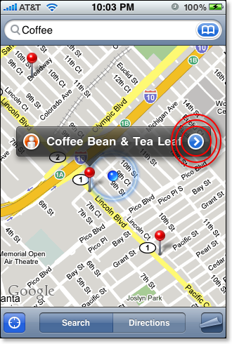 iPhone Map Coffee locations