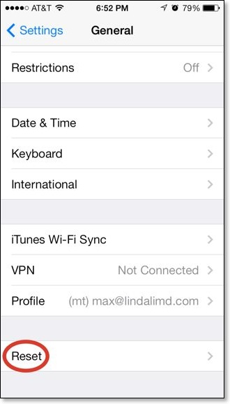 erase iPhone: reset