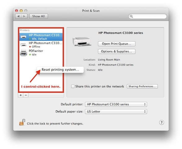Resetting the Printing System in the Print & Scan Mac preference pane