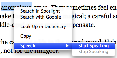 Safari Contextual Menu with speech