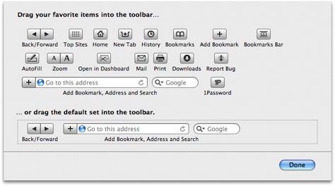 safari customize toolbar buttons