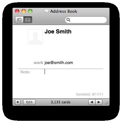 Joe's card-- with the correct email address (joe@smith.com)