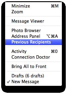 Previous Recipients in Mail's Window menu
