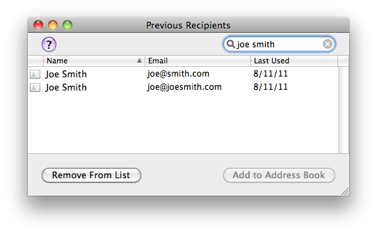 Previous Recipients window in Mail